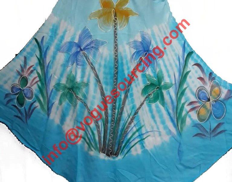 Rayon Tie Dye Dress Brush Printed